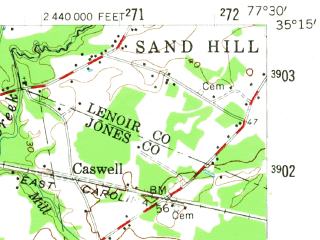 Reduced fragment of topographic map en--usgs--063k--053296--(1958)--N035-15_W077-45--N035-00_W077-30; towns and cities Pink Hill