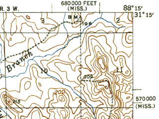 Reduced fragment of topographic map en--usgs--063k--053302--(1943)--N031-15_W088-30--N031-00_W088-15; towns and cities Citronelle
