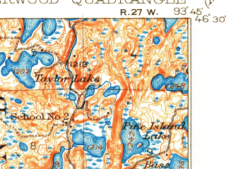 Reduced fragment of topographic map en--usgs--063k--053306--(1914)--N046-30_W094-00--N046-15_W093-45 in area of Bay Lake, Farm Island Lake, Serpent Lake; towns and cities Garrison, Ironton, Crosby
