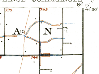 Reduced fragment of topographic map en--usgs--063k--053307--(1907)--N041-30_W084-30--N041-15_W084-15; towns and cities Defiance