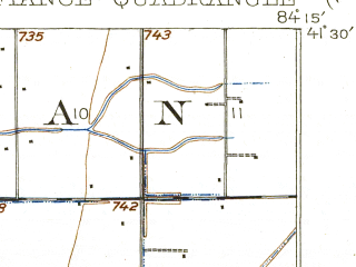 Reduced fragment of topographic map en--usgs--063k--053307--(1909)--N041-30_W084-30--N041-15_W084-15; towns and cities Defiance