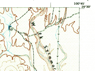 Reduced fragment of topographic map en--usgs--063k--053309--(1943)--N029-30_W101-00--N029-15_W100-45; towns and cities Ciudad Acuna, Del Rio, Laughlin Afb