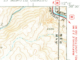 Reduced fragment of topographic map en--usgs--063k--053312--(1937)--N038-30_W112-30--N038-15_W112-15; towns and cities Marysvale