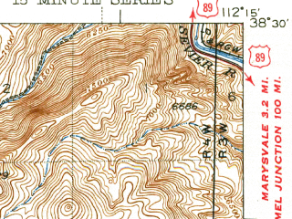 Reduced fragment of topographic map en--usgs--063k--053312--(1943)--N038-30_W112-30--N038-15_W112-15; towns and cities Marysvale