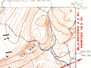 Reduced fragment of topographic map en--usgs--063k--053319--(1942)--N041-00_W075-15--N040-45_W075-00; towns and cities Stroudsburg, Bangor, Belvidere, Brass Castle, Delaware Water Gap