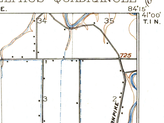 Reduced fragment of topographic map en--usgs--063k--053326--(1911)--N041-00_W084-30--N040-45_W084-15; towns and cities Delphos, Fort Jennings, Middle Point, Ottoville