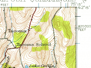 Reduced fragment of topographic map en--usgs--063k--053367--(1924)--N042-15_W075-30--N042-00_W075-15; towns and cities Deposit