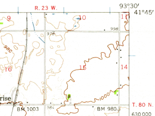 Reduced fragment of topographic map en--usgs--063k--053374--(1956)--N041-45_W093-45--N041-30_W093-30 in area of Lake Easter; towns and cities Des Moines, Urbandale, Ankeny, Windsor Heights, Johnston