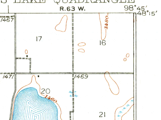 Reduced fragment of topographic map en--usgs--063k--053390--(1931)--N048-15_W099-00--N048-00_W098-45 in area of Sweetwater Lake; towns and cities Devils Lake