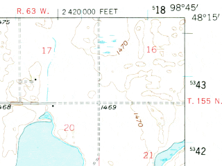 Reduced fragment of topographic map en--usgs--063k--053390--(1950)--N048-15_W099-00--N048-00_W098-45 in area of Sweetwater Lake; towns and cities Devils Lake
