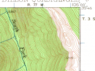 Reduced fragment of topographic map en--usgs--063k--053442--(1929)--N039-45_W106-15--N039-30_W106-00 in area of Dillion Reservoir; towns and cities Dillon, Frisco, Silverthorne