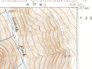 Reduced fragment of topographic map en--usgs--063k--053442--(1934)--N039-45_W106-15--N039-30_W106-00 in area of Dillion Reservoir; towns and cities Dillon, Frisco, Silverthorne
