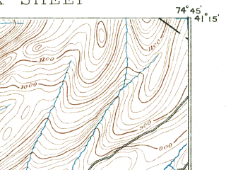 Reduced fragment of topographic map en--usgs--063k--053446--(1891)--N041-15_W075-00--N041-00_W074-45; towns and cities Newton, Crandon Lakes