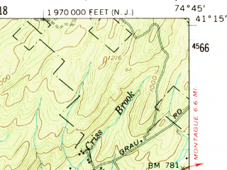 Reduced fragment of topographic map en--usgs--063k--053446--(1954)--N041-15_W075-00--N041-00_W074-45; towns and cities Newton, Crandon Lakes