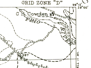 Reduced fragment of topographic map en--usgs--063k--053459--(1942)--N029-00_W099-30--N028-45_W099-15