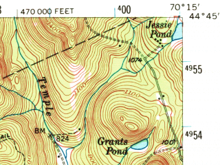 Reduced fragment of topographic map en--usgs--063k--053460--(1956)--N044-45_W070-30--N044-30_W070-15 in area of Webb Lake; towns and cities Dixfield