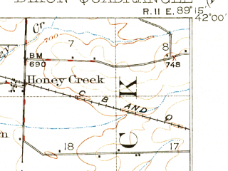 Reduced fragment of topographic map en--usgs--063k--053467--(1918)--N042-00_W089-30--N041-45_W089-15; towns and cities Dixon, Franklin Grove
