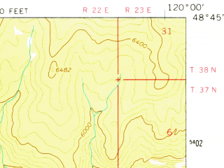 Reduced fragment of topographic map en--usgs--063k--053484--(1963)--N048-45_W120-15--N048-30_W120-00