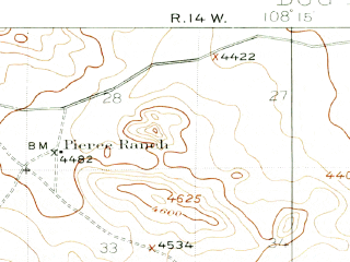 Reduced fragment of topographic map en--usgs--063k--053489--(1918)--N031-30_W108-30--N031-15_W108-15
