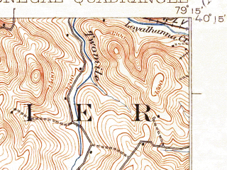 Reduced fragment of topographic map en--usgs--063k--053499--(1922)--N040-15_W079-30--N040-00_W079-15; towns and cities Calumet-norvelt, Donegal, Seven Springs