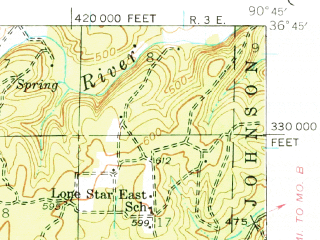 Reduced fragment of topographic map en--usgs--063k--053501--(1939)--N036-45_W091-00--N036-30_W090-45; towns and cities Doniphan