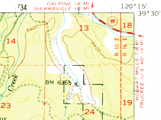 Reduced fragment of topographic map en--usgs--063k--053505--(1955)--N039-30_W120-30--N039-15_W120-15 in area of Fordyce Lake, Independence Lake, Meadow Lake