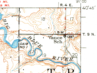 Reduced fragment of topographic map en--usgs--063k--053508--(1940)--N040-45_W097-15--N040-30_W097-00; towns and cities Dorchester