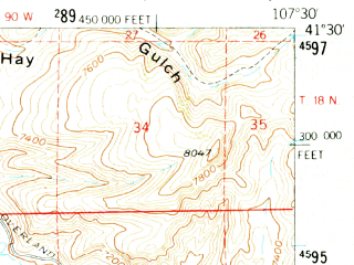Reduced fragment of topographic map en--usgs--063k--053516--(1957)--N041-30_W107-45--N041-15_W107-30