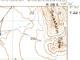 Reduced fragment of topographic map en--usgs--063k--053523--(1914)--N031-30_W109-45--N031-15_W109-30; towns and cities Agua Prieta, Douglas, Pirtleville