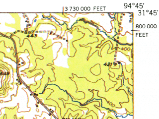 Reduced fragment of topographic map en--usgs--063k--053524--(1952)--N031-45_W095-00--N031-30_W094-45 in area of Lake Nacogdoches
