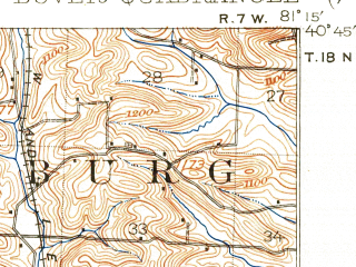 Reduced fragment of topographic map en--usgs--063k--053527--(1912)--N040-45_W081-30--N040-30_W081-15 in area of Sandy Creek; towns and cities Dover, Parral, Waynesburg, Zoar