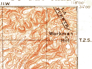 Reduced fragment of topographic map en--usgs--063k--053532--(1896)--N034-00_W118-15--N033-45_W118-00; towns and cities Long Beach, Florence-graham, Norwalk, Bellflower, Maywood