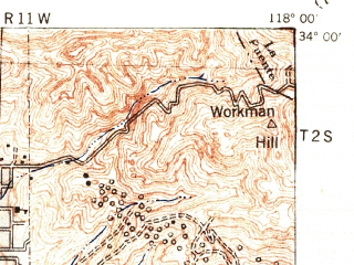 Reduced fragment of topographic map en--usgs--063k--053532--(1942)--N034-00_W118-15--N033-45_W118-00; towns and cities Long Beach, Norwalk, Whittier, Bellflower, Paramount