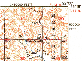 Reduced fragment of topographic map en--usgs--063k--053535--(1950)--N045-15_W092-15--N045-00_W092-00; towns and cities Boyceville, Downing, Glenwood City