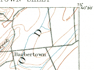 Reduced fragment of topographic map en--usgs--063k--053538--(1890)--N040-30_W075-15--N040-15_W075-00; towns and cities Doylestown, Brittany Farms-highlands, Chalfont, Dublin