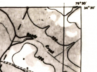 Reduced fragment of topographic map en--usgs--063k--053543--(1943)--N034-30_W079-45--N034-15_W079-30