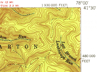 Reduced fragment of topographic map en--usgs--063k--053550--(1945)--N041-30_W078-15--N041-15_W078-00; towns and cities Driftwood