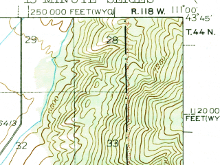 Reduced fragment of topographic map en--usgs--063k--053551--(1946)--N043-45_W111-15--N043-30_W111-00; towns and cities Driggs, Victor