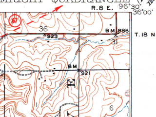 Reduced fragment of topographic map en--usgs--063k--053558--(1931)--N036-00_W096-45--N035-45_W096-30 in area of Stroud Lake; towns and cities Shamrock, Stroud, Depew