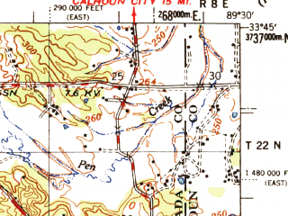 Reduced fragment of topographic map en--usgs--063k--053575--(1954)--N033-45_W089-45--N033-30_W089-30; towns and cities Duck Hill