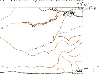 Reduced fragment of topographic map en--usgs--063k--053593--(1932)--N033-45_W099-00--N033-30_W098-45 in area of Lake Kickapoo