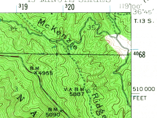 Reduced fragment of topographic map en--usgs--063k--053600--(1942)--N036-45_W119-15--N036-30_W119-00; towns and cities Squaw Valley