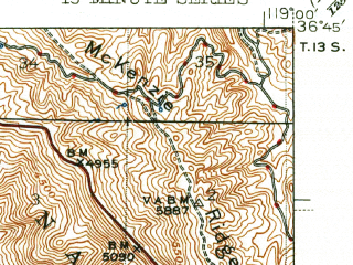 Reduced fragment of topographic map en--usgs--063k--053600--(1944)--N036-45_W119-15--N036-30_W119-00; towns and cities Squaw Valley