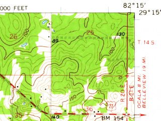 Reduced fragment of topographic map en--usgs--063k--053605--(1954)--N029-15_W082-30--N029-00_W082-15; towns and cities Dunnellon