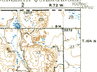 Reduced fragment of topographic map en--usgs--063k--053609--(1939)--N049-00_W100-15--N048-45_W100-00; towns and cities Dunseith, East Dunseith