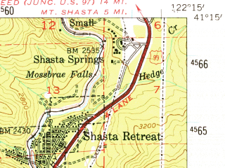 Reduced fragment of topographic map en--usgs--063k--053610--(1954)--N041-15_W122-30--N041-00_W122-15; towns and cities Dunsmuir