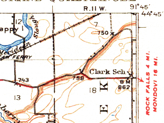Reduced fragment of topographic map en--usgs--063k--053613--(1932)--N044-45_W092-00--N044-30_W091-45; towns and cities Durand