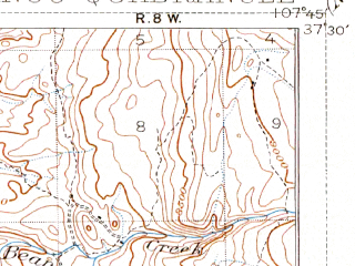 Reduced fragment of topographic map en--usgs--063k--053615--(1907)--N037-30_W108-00--N037-15_W107-45; towns and cities Durango