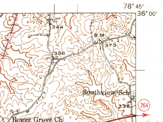 Reduced fragment of topographic map en--usgs--063k--053622--(1943)--N036-00_W079-00--N035-45_W078-45; towns and cities Durham, Cary, Parkwood, Morrisville