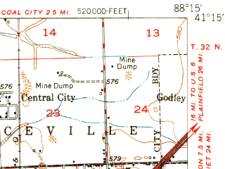 Reduced fragment of topographic map en--usgs--063k--053632--(1950)--N041-15_W088-30--N041-00_W088-15; towns and cities Braceville, Campus, Dwight
